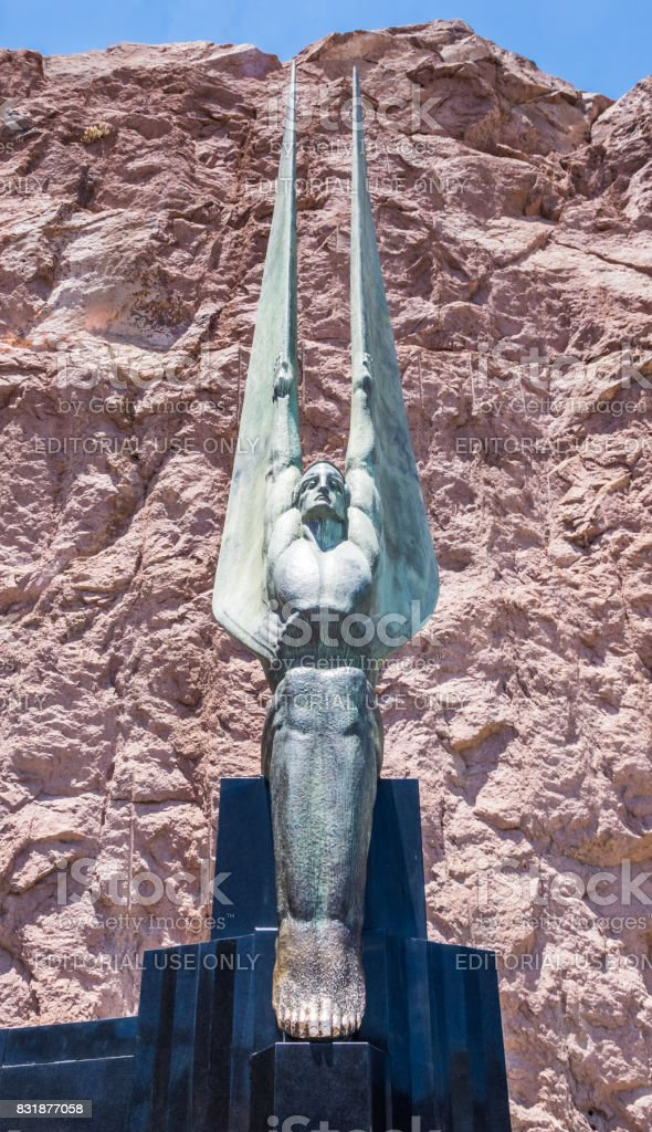 Monument in honor of workers and builders of the Hoover Dam stock photo