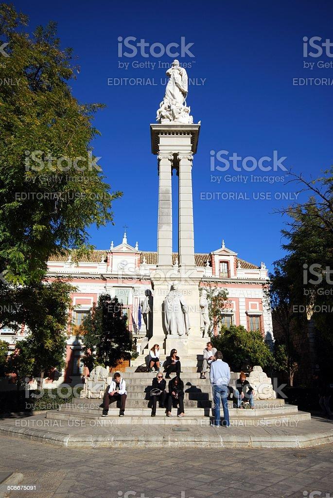 Monument in Plaza Triunfo, Seville. stock photo