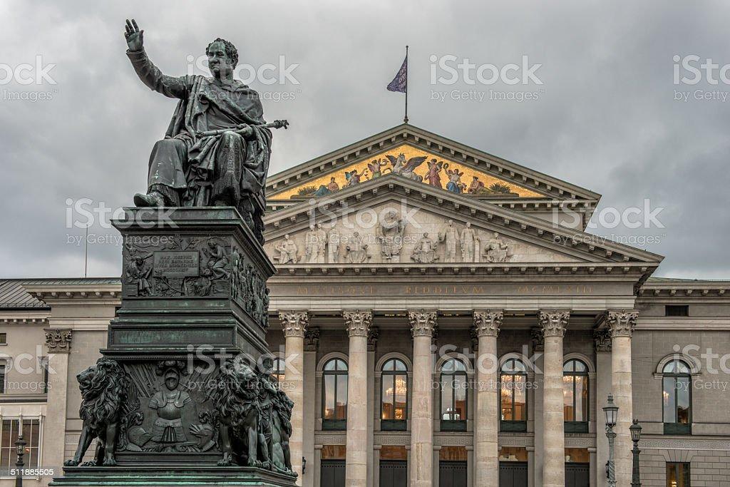 Monument Max Joseph near National Theatre Munich stock photo