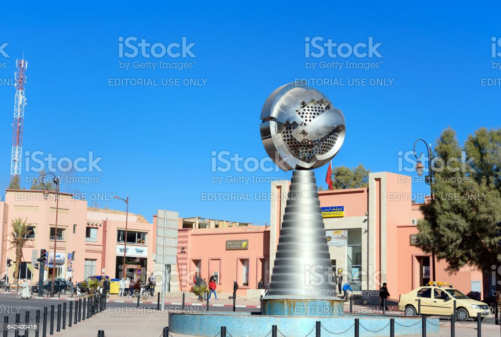 Monument near building of Municipality in Ouarzazate stock photo