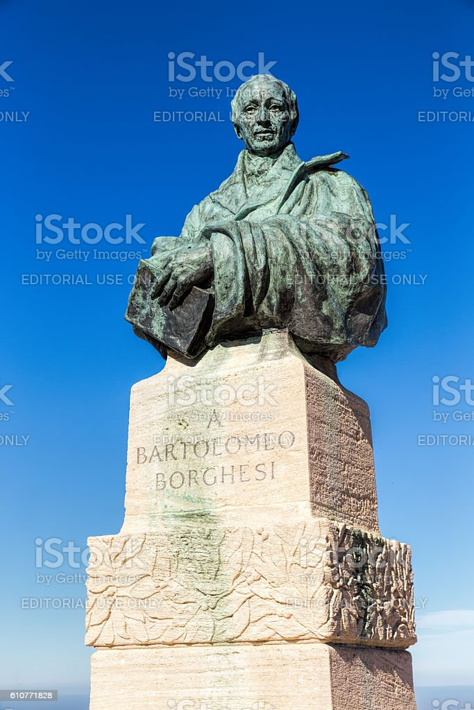 Monument of Bartolomeo Borghesi in San Marino stock photo