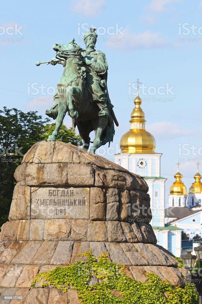 Monument of Bohdan Khmelnytsky in Kyiv stock photo