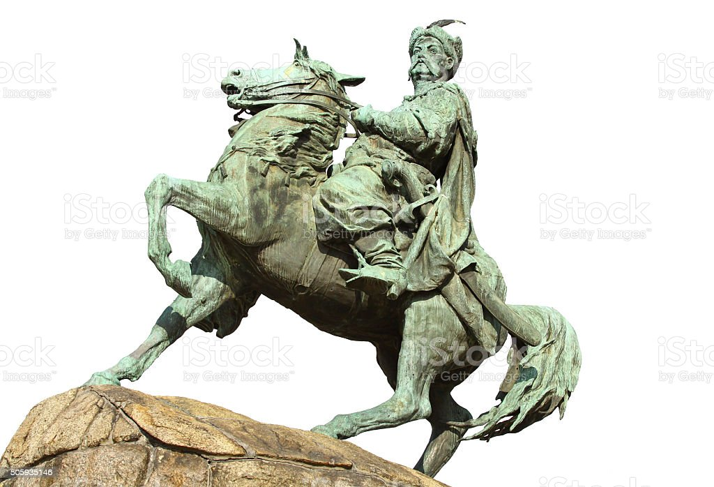 Monument of Bohdan Khmelnytsky in Kyiv, Ukraine stock photo