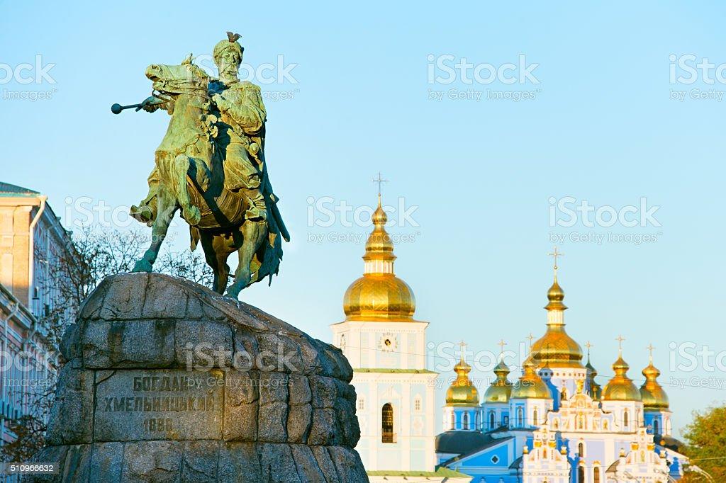 Monument of Bohdan Khmelnytsky, Kiev, Ukraine stock photo
