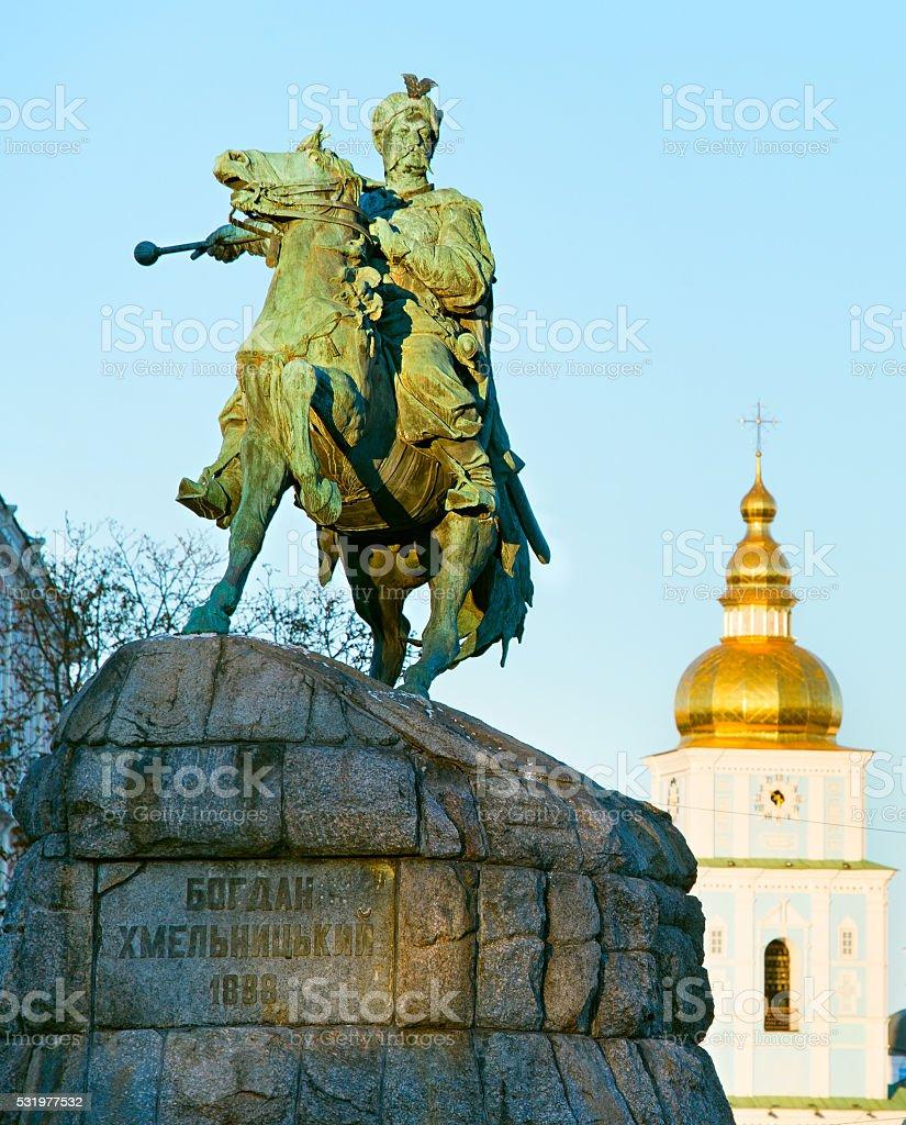 Monument of Bohdan Khmelnytsky. Kiev, Ukraine stock photo