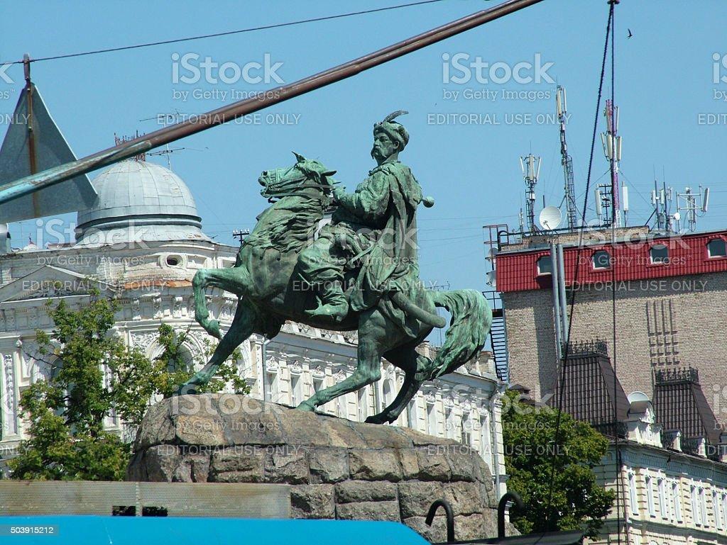 Monument of Bohdan Khmelnytsky stock photo