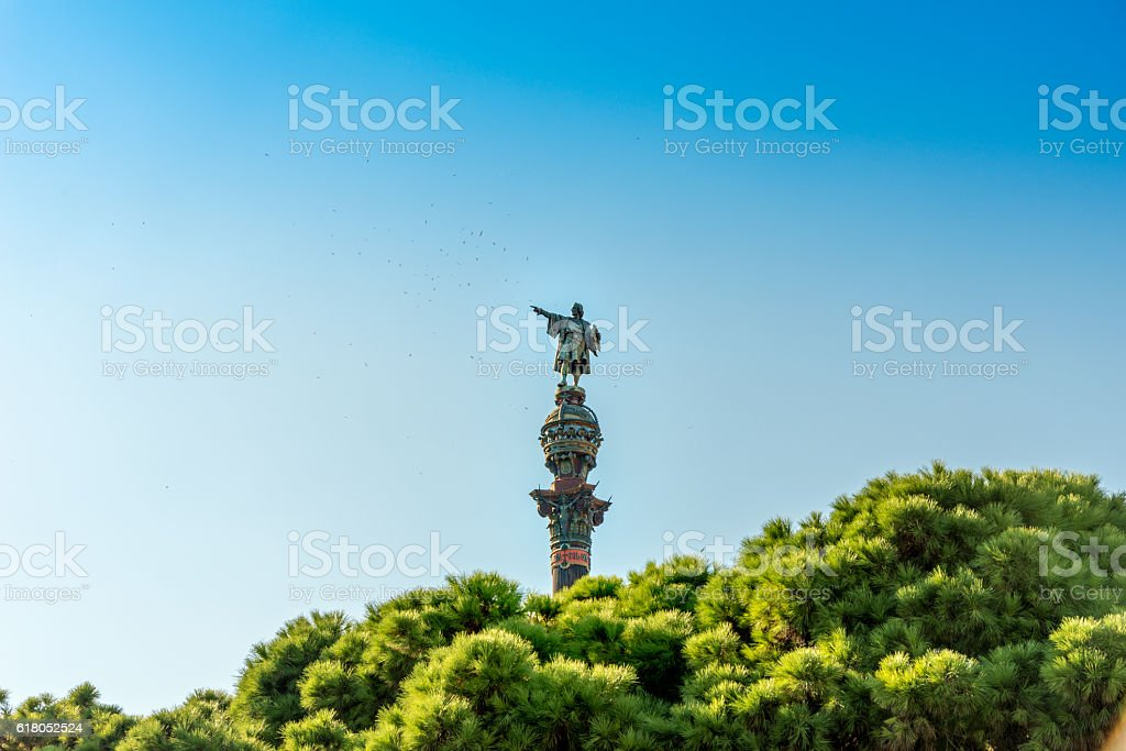Monument of Christopher Columbus pointing towards America. Barcelona, Spain stock photo