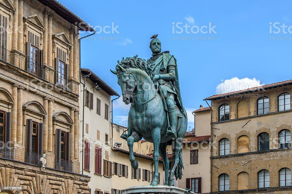 Monument of Cosimo I Medici. Piazza della Signoria in Florence. stock photo