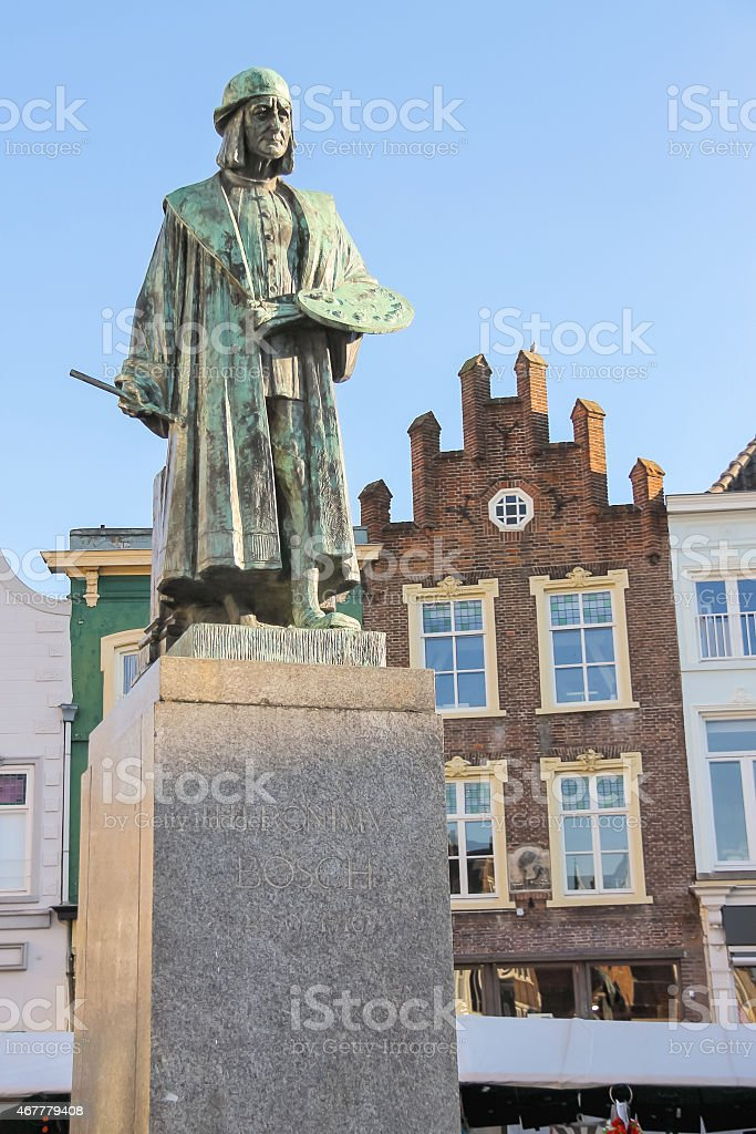 Monument of famous painter Hieronymus Bosch in s-Hertogenbosch. stock photo