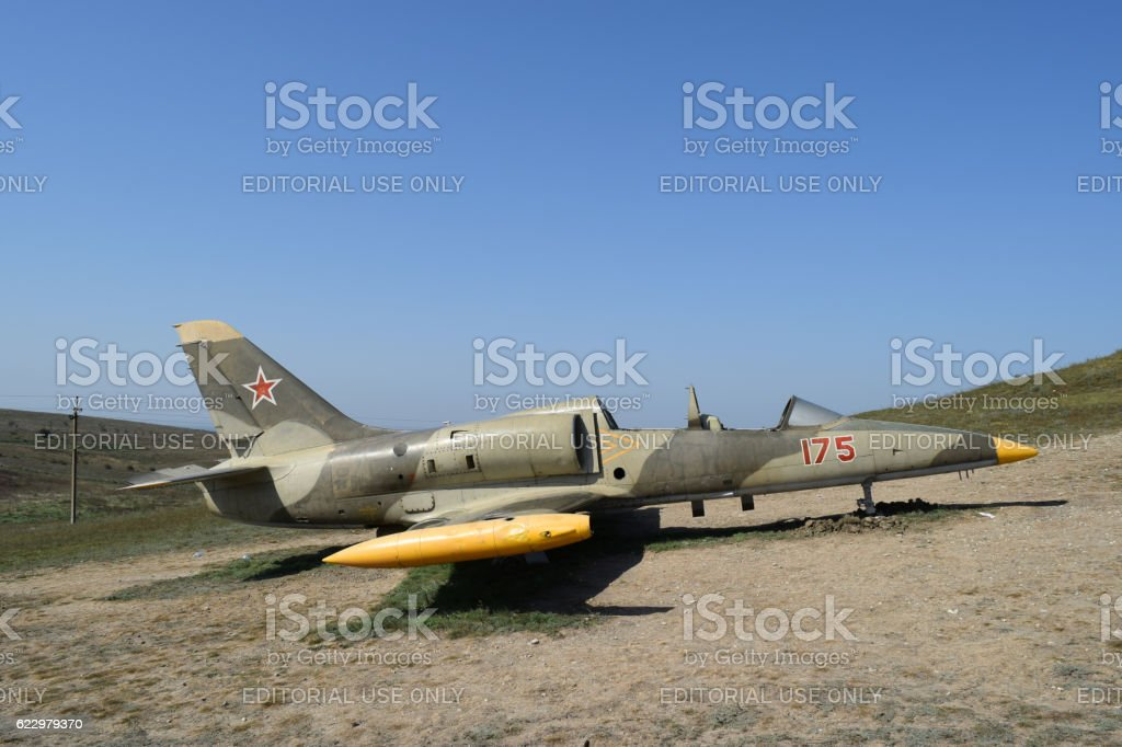 Monument of fighter aircraft near the Cossack village Ataman stock photo