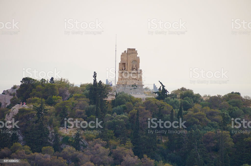 Monument of Filopappos seen from Acropolis  in Athens,Greece. stock photo