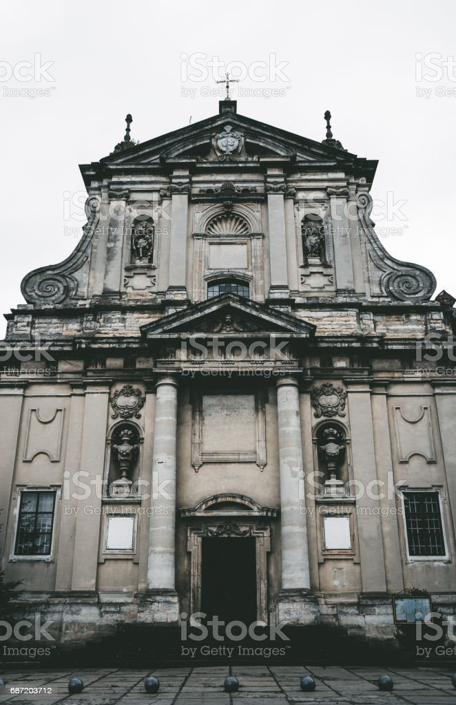 monument of Gothic architecture since the middle ages Lviv, Ukraine. Jesuit Cathedral of Peter and Paul stock photo