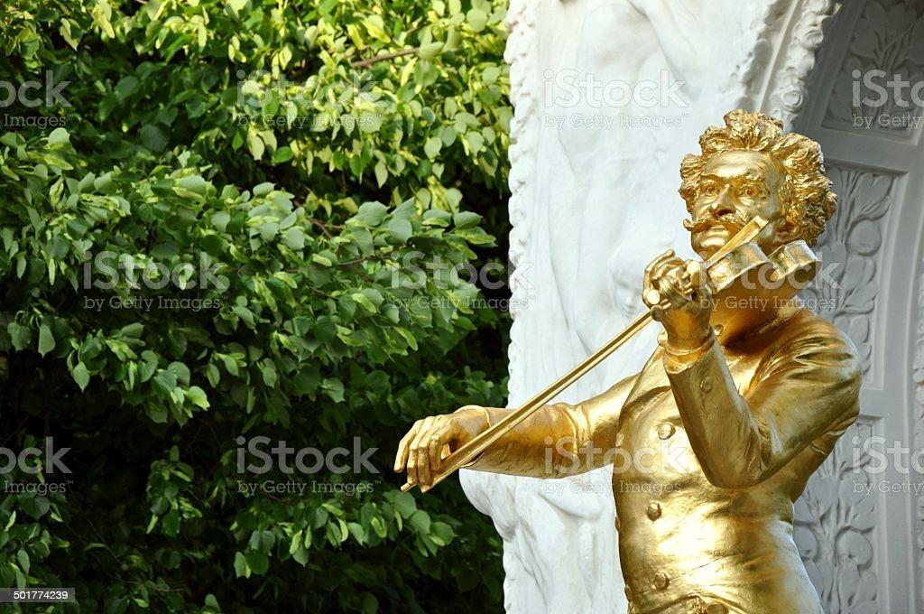 Monument of Johann Strauss II in Vienna, Austria stock photo