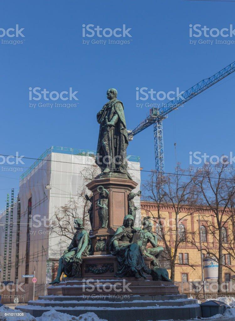 Monument of King Max II in Munich, Maximilian street stock photo
