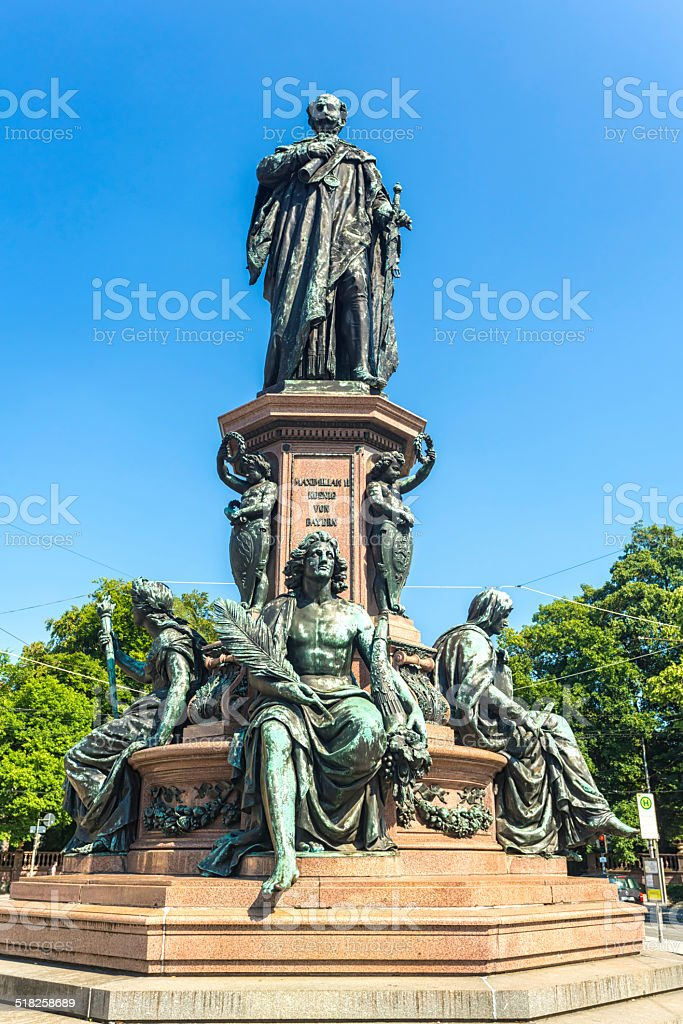 Monument of King Max II in Munich stock photo