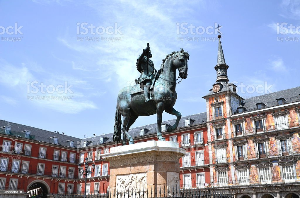 Monument of King Philip III on Plaza Mayor, Madrid, Spain stock photo