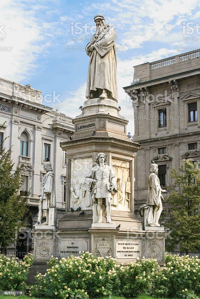 Monument of Leonardo da Vinci, Piazza della Scala, Milan Italy. stock photo