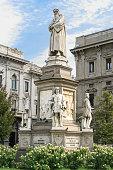 Monument of Leonardo da Vinci, Piazza della Scala, Milan Italy.