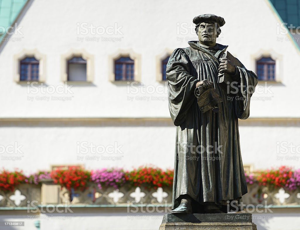 Monument of Martin Luther in Eisleben stock photo
