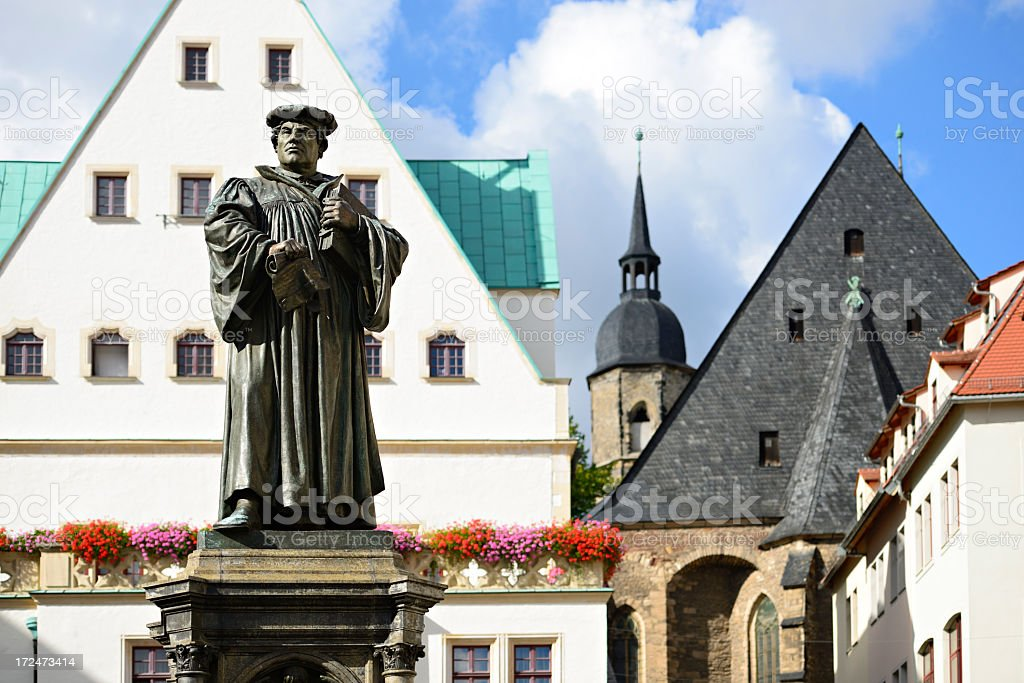 Monument of Martin Luther in Eisleben royalty-free stock photo
