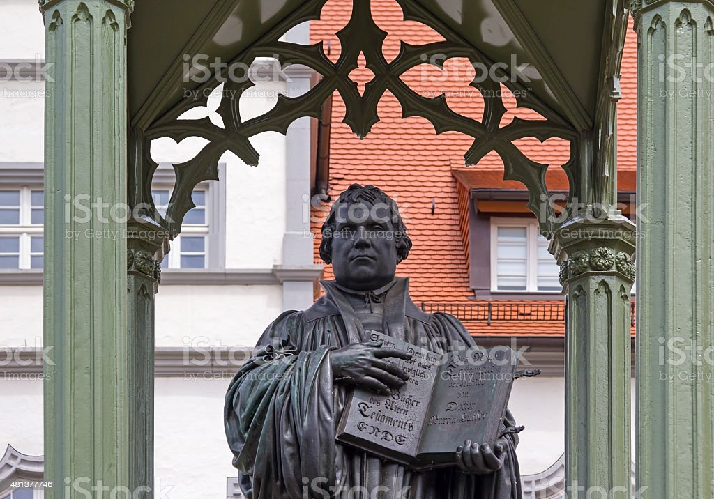 Monument of Martin Luther in Wittenberg stock photo