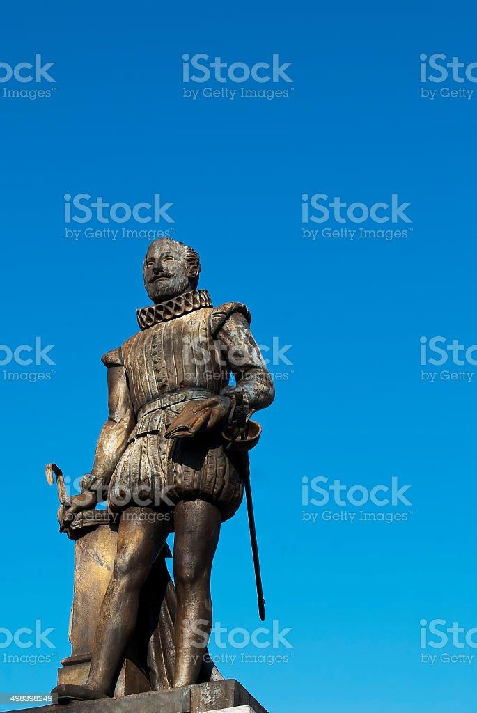 Monument of Miguel de Cervantes stock photo