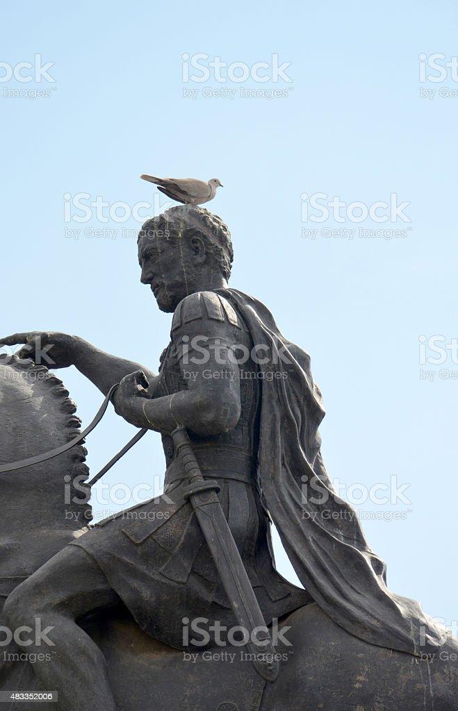monument of Philip Macedonian in Bitola, Macedonia stock photo
