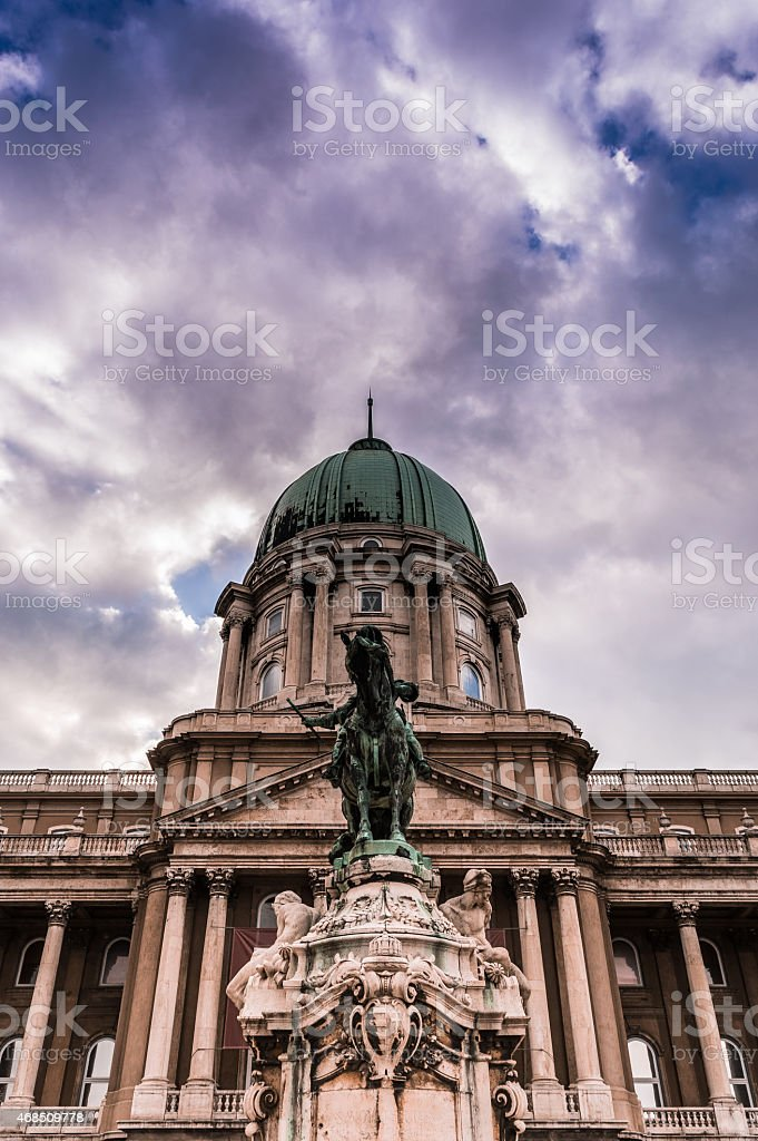 Monument of Princ Eugen of savoy in front of Buda Castle stock photo
