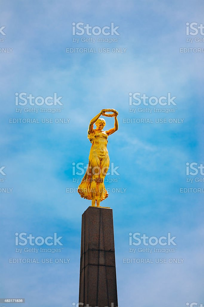 Monument of Remembrance (Gelle Fra or Golden Lady) memorial stock photo
