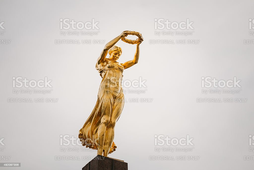 Monument of Remembrance (Gelle Fra or Golden Lady) stock photo
