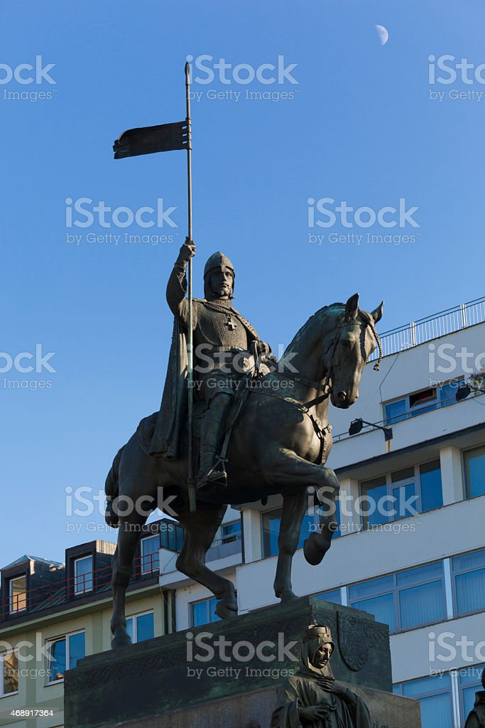 Monument of St. Wenceslas in Prague stock photo