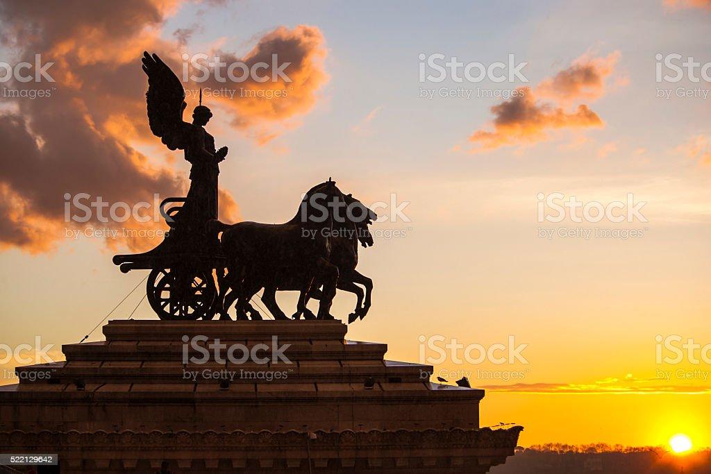 Monument of the Goddess Victoria riding on quadriga, Rome, Italy stock photo