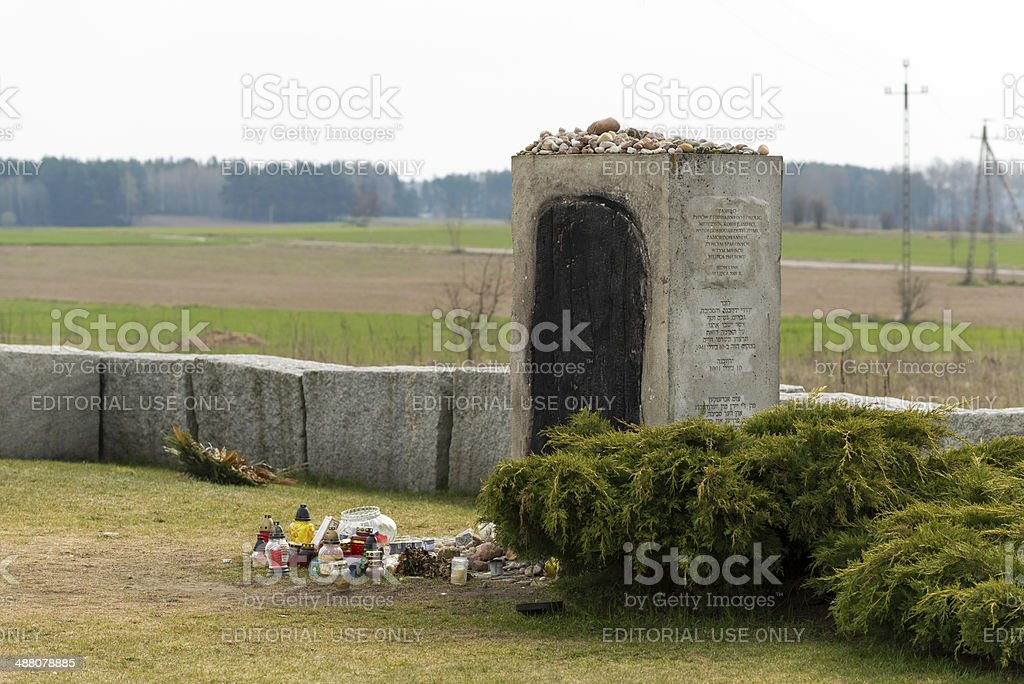 Monument of the Jewish pogrom in Jedwabne stock photo
