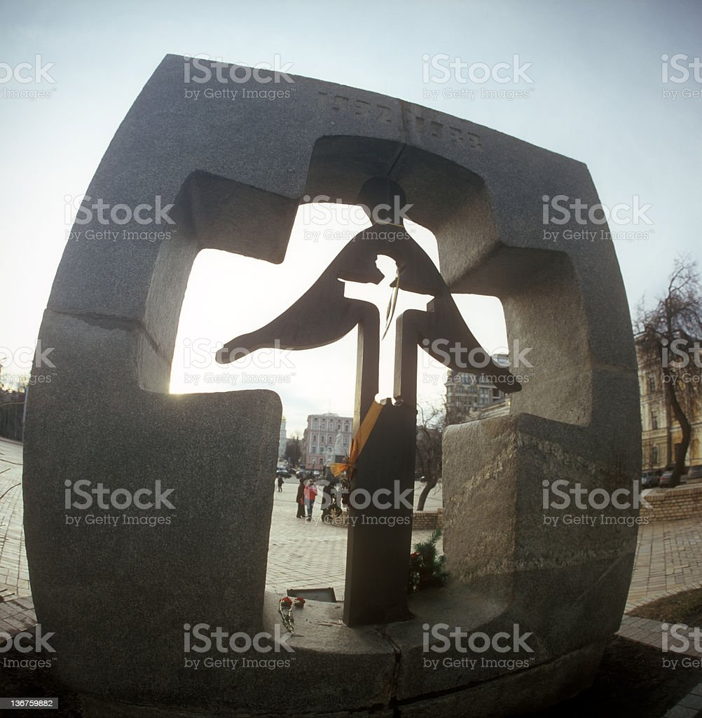 Monument of victims the famine 1932-1933 in Ukraine. stock photo