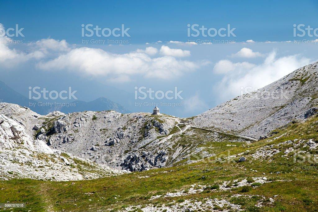 Monument of World War 1 on Mountain Peski, Slovenia stock photo