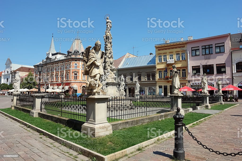 Monument on central square in Kosice. stock photo