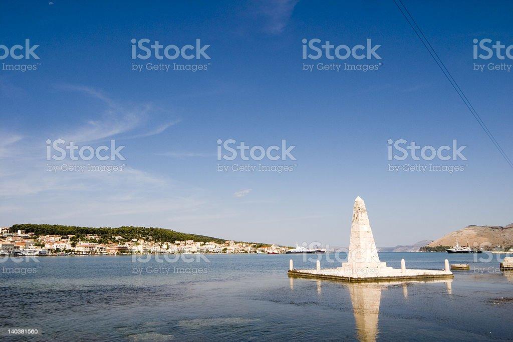 Monument on the Drapano Bridge, Argostoli, Kefalonia, Septem stock photo