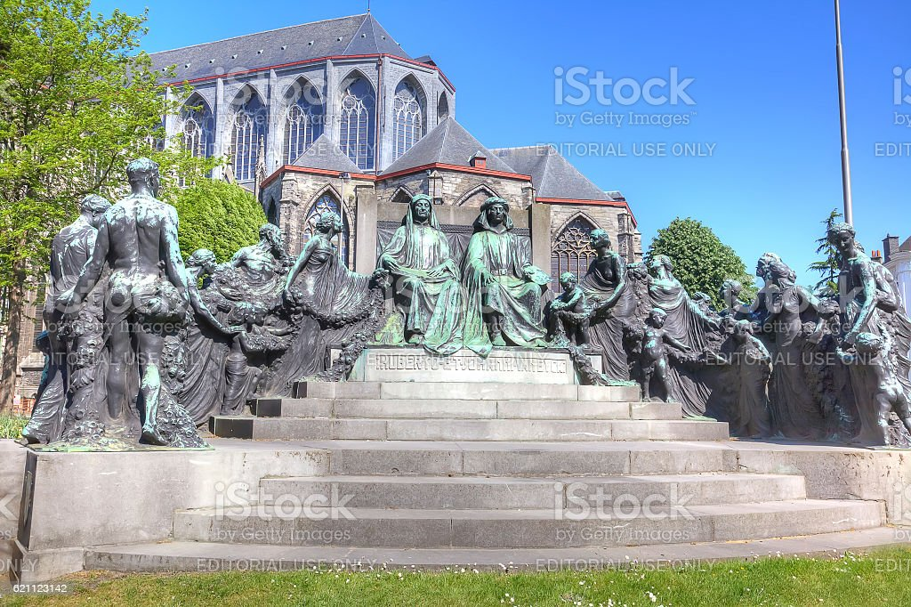 Monument painters Hubert and Jan van Eyck stock photo