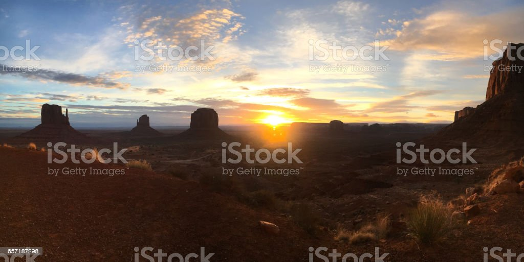 Monument panorama sunset stock photo