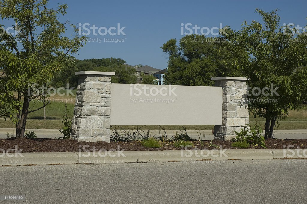 Monument Sign to an Exclusive Neighborhood stock photo