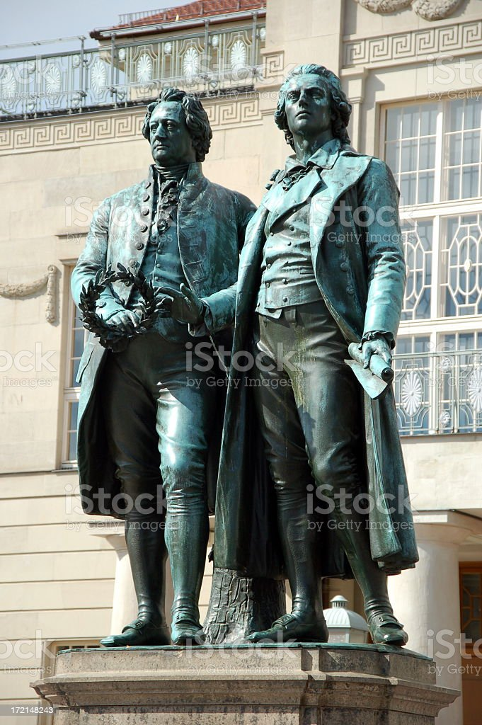 Monument statue of Goethe and Schiller stock photo