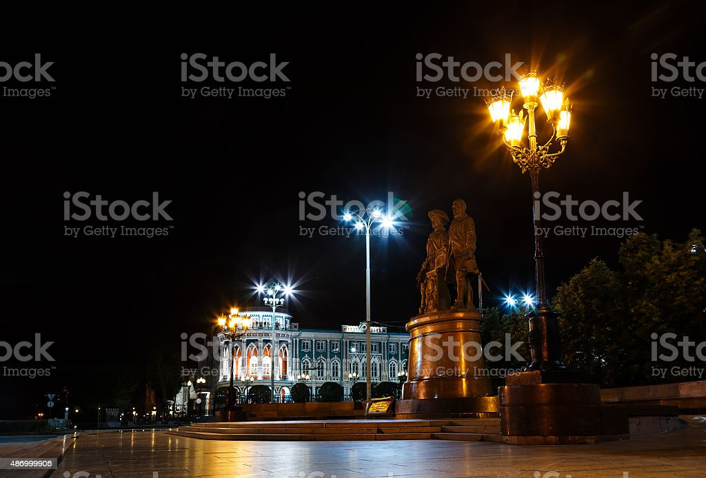 monument Tatishchev  and de Genin night stock photo