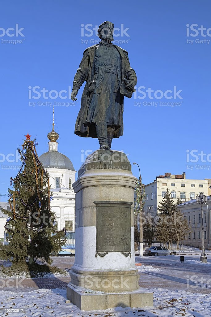 Monument to Afanasy Nikitin in Tver, Russia stock photo