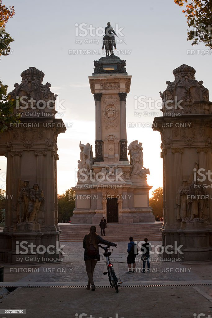 Monument to Alfonso XII in the Buen Retiro Park, Madrid stock photo