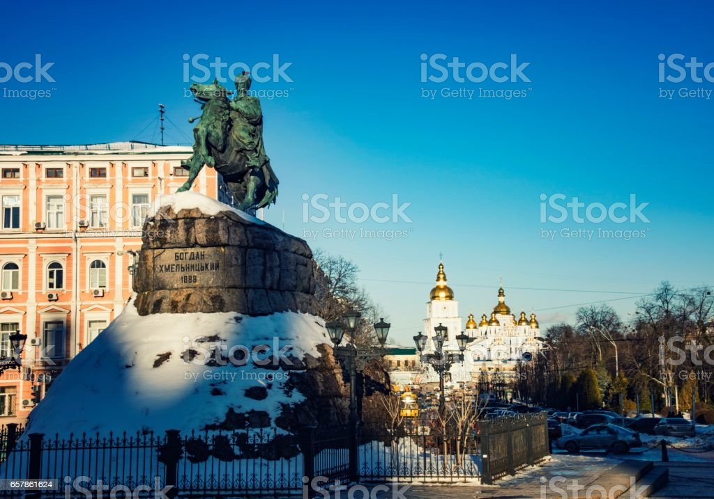 Monument to Bogdan Khmelnitsky in the background St. Michael's Cathedral stock photo