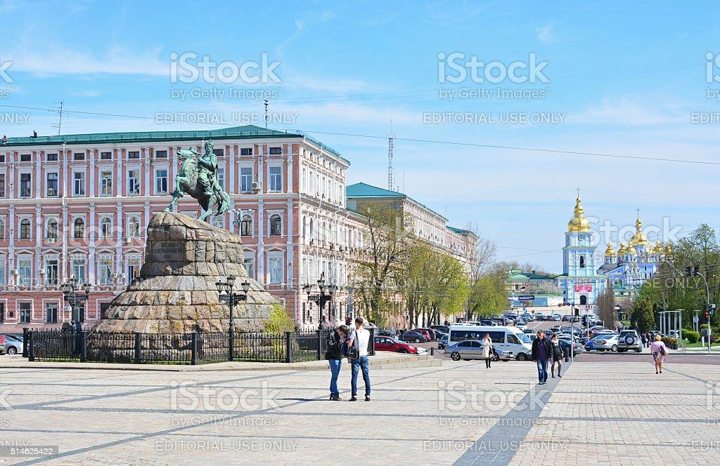 Monument to Bohdan Khmelnytsky and St. Michael's Golden-Domed Monastery stock photo
