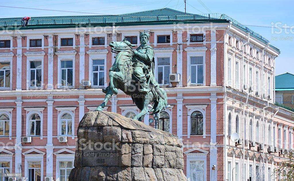 Monument to Bohdan Khmelnytsky at Sofiivska Square. Symbol of Kyiv stock photo