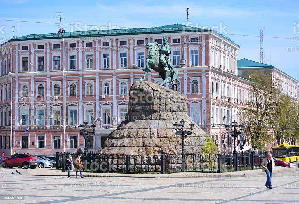 Monument to Bohdan Khmelnytsky Symbol of Kyiv (Ukraine ) stock photo