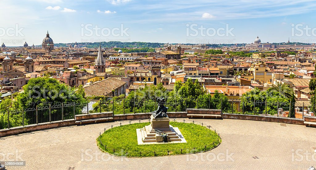 Monument to Cairoli brothers in Rome stock photo