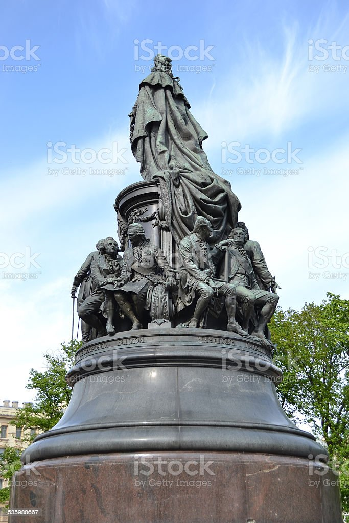 Monument to Catherine the Great on Ostrovsky Square. stock photo
